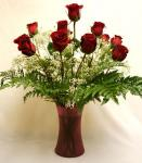 Send One Dozen Red Roses in a vase to Pakistan