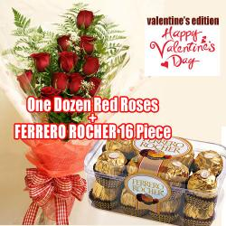 Red Roses And Ferrero Rocher Chocolates On Valentines Day